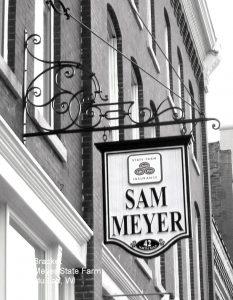 Sign Sam Meyer sign B+W