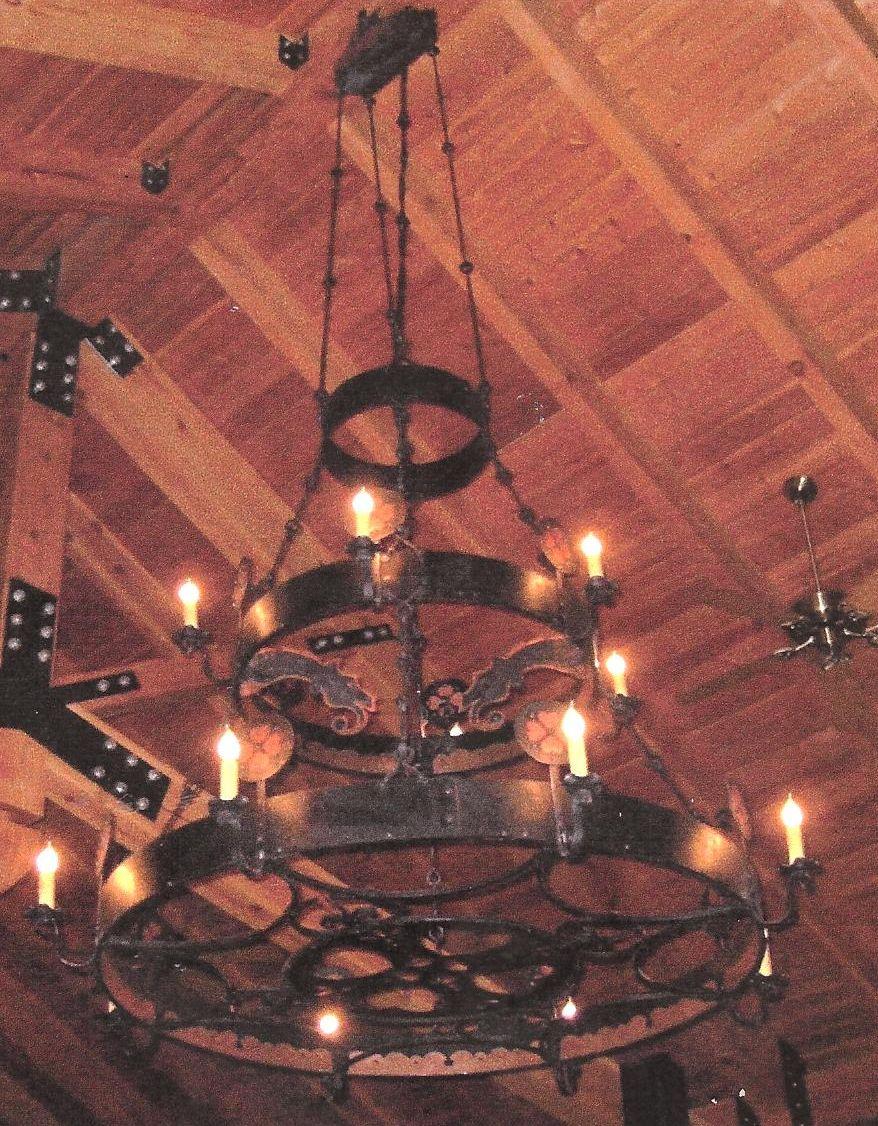 "Chandelier. Mild steel, and copper. Natural finish. ""Bjorklunden Lodge"", Baileys Harbor, WI."