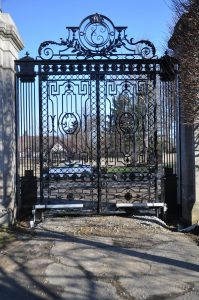 Edgar Brandt Gate, restored in 2014 by Dan Nauman, and Finelli Ironworks.