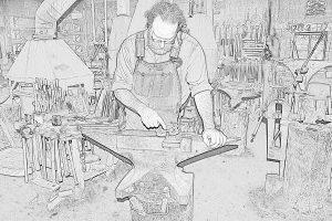Dan in shop line drawing 2