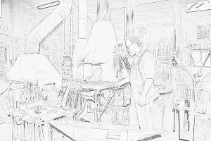Dan in shop Line drawing